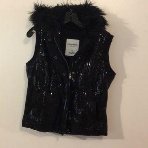 Black Sequins hooded Ladies zip Vest Like New Sz L